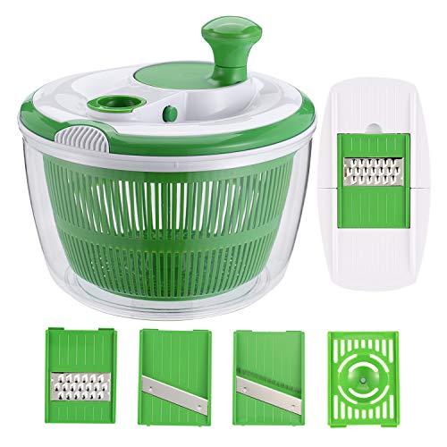 GreensKon Healthy Eating - Rotador de Ensalada Grande con 3 mandolinas y 1 Separador de Huevos, dispensador de Lechuga/Secadora con Cuenco, plástico sin BPA, Verde, 5 L
