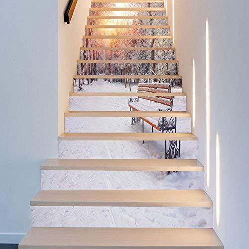 de Vinilo Escalera Pegatinas Calcomanías - Pegatinas personalizadas para escaleras de nieve de bosque de escaleras de pasillo