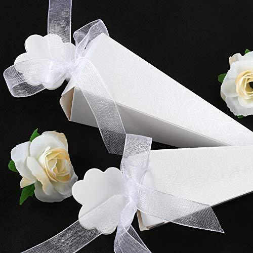 GWHOLE 100 Piezas Conos Arroz Boda Cajas Regalo Blanca para Cucuruchos Pétalos Confeti,Caramelos, Comunión, Boda Recuerdo, Invitados de boda - con Lazo Suave