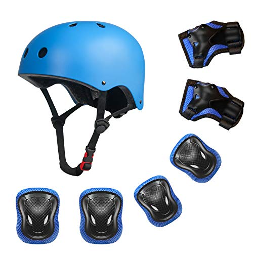 YUFU Kids Helmet Sports Protective Gear Set for 9-13 Years Children Boys Girls Bike Skateboard Adjustable Helmet Knee Elbow Wrist Pads for Cycling Skating Roller Scooter Bicycle, Pack of 7 Blue M