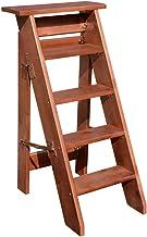 DX Vouwladder met 5 treden, houten laddertrede, trap voor kinderen en volwassenen, zwaar belastbaar, max. gewicht 150 kg, ...