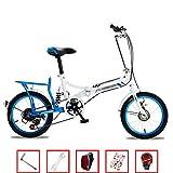 YSHCA 16 Pulgadas 6 velocidades Plegable Bicicleta, Marco de Acero al Carbono Bicicleta Plegable Street con Estante y Sillin Confort Bicicleta Plegable Urbana,Blue