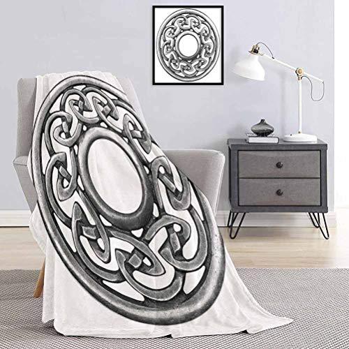 Soft Blanket Royal Style Circular Celtic Pattern Graphic Print Metal Brooch Design Scottish Shield Super Soft Brush Fabric for Bed to Keep Warm Silver W70 x L70 Inch
