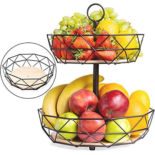 DEKOFY Obst Etagere - Exklusive Obstkorb Etagere mit modernen & hochwertigen Echtholzböden - auch einzeln nutzbar - Aufbewahrung für Obst & Gemüse, Obstschale, Obstkorb 2 Etagen, Obst Ständer