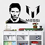 Jugador de fútbol arte diseño etiqueta de la pared Lionel Messi cartel decoración del hogar DIY vinilo fútbol pared calcomanía decoración de la habitación mural