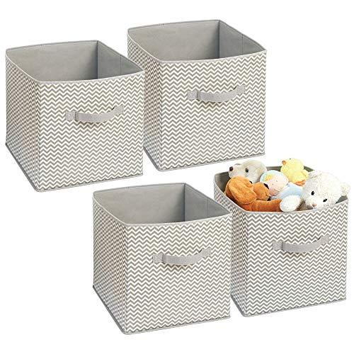 mDesign Juego de 4 Cajas organizadoras en Tela - Organizadores para armarios y Cuartos de niños - Caja para organizar Ropa, Juguetes y sábanas en armarios - Topo/Natural