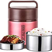 Cffdoifhe お弁当ばこ, 子供の大人のための食品フラスコステンレス鋼の熱スープフラスコ、昼食のためのBPAフリーの断熱容器、ポータブル漏れ防止熱真空ボトル、弁当スタイルのランチソリューションオファー耐久性 (Color : Pink, Size : 2L)