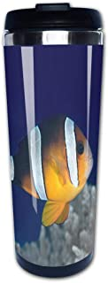 Portable Stainless Steel Insulated Coffee Travel Cup Mug,Yellowtail Clownfish Amphiprion clarkii leak-proof flip cover keeps hot or cold 13.6 oz (400 ml)
