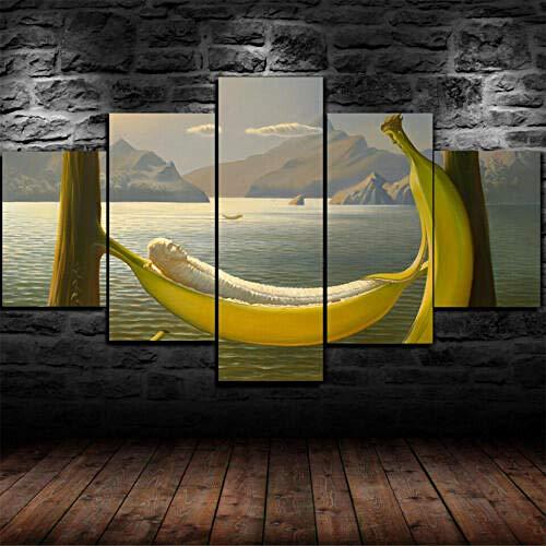 60Tdfc canvasdruk wandafbeeldingen wallpaper afbeeldingen 5 canvas schilderij banaan in een hangmat Hd woonkamer decoratie landschap poster