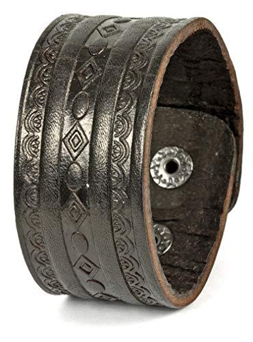 Premium Leder-Armband Edelstahl für Herren in Schwarz Geprägtes Muster