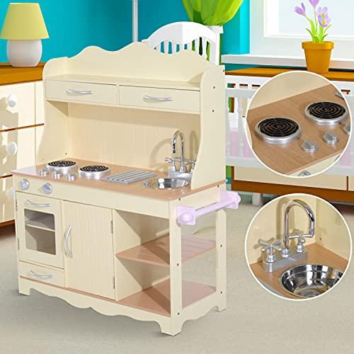 HOMCOM Kinderküche Spielzeugküche Kinderspielküche aus Holz - 2