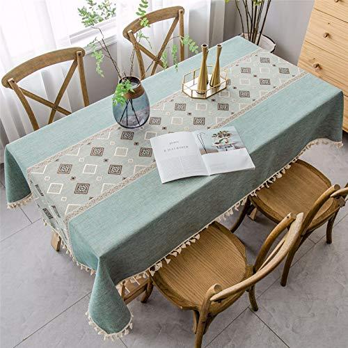 CCBAO Borla Verde Estilo Étnico Algodón Y Lino Mantel Hogar Mantel Rectangular Mantel 140x240cm