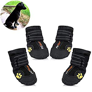 Petilleur Waterproof Dog Shoes Breathable Paws Protector Anti-Skid Dog Boots with Reflective Strap Pet Winter Warm Snow Boots for Small, Medium and Large Dogs