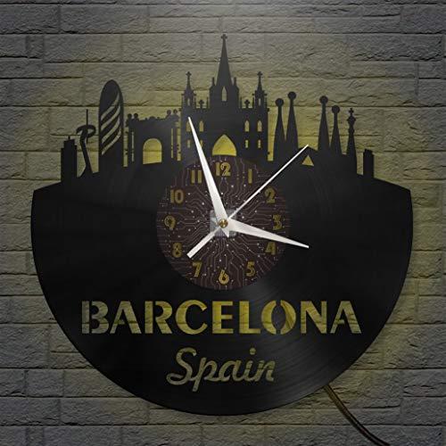 Barcelona Reloj de pared LED con disco de vinilo de 12 pulgadas, reloj de pared de vinilo para cocina, hogar, sala de estar, dormitorio (C, con LED), reloj de vinilo para el hogar y manualidades, rega