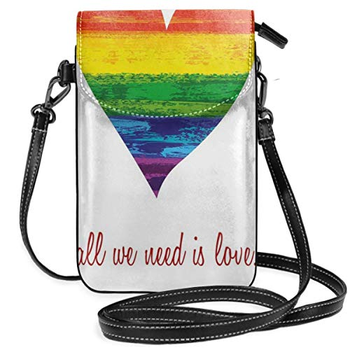 Women Small Cell Phone Purse Crossbody,All We Need Is Love Quote With Heart Symbol In The Parade Colors Valentines