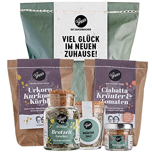 Gepp's Feinkost Brot und Salz Geschenk zum Einzug I 2 verschiedene Brotbackmischungen, Brotzeit-Gewürz, Kräutersalz & Knoblauch-Chili...