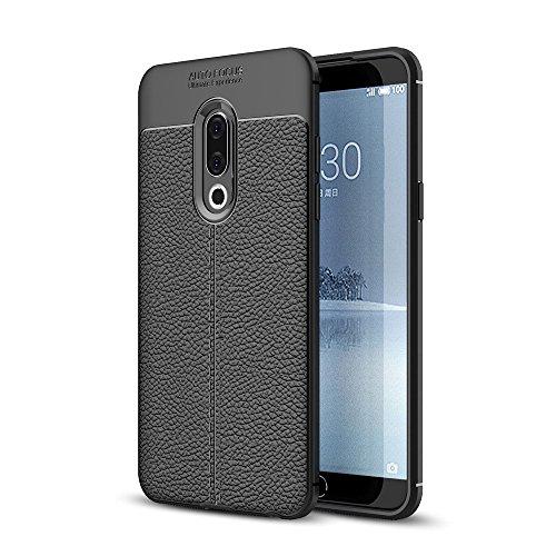jbTec TPU-Case Handy-Hülle Leder-Erscheinungsbild - Schutz-Hülle Silikon-Hülle Cover Tasche Bumper Schutzhülle Handyhülle Kunststoff, Farbe:Schwarz, passend für:Meizu 15
