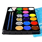Face Painting Kit for Kids-Jumbo Stencils, 16 Water Based Large Paints, 2 Glitters 2 Brushes & 2 Sponges-Halloween...