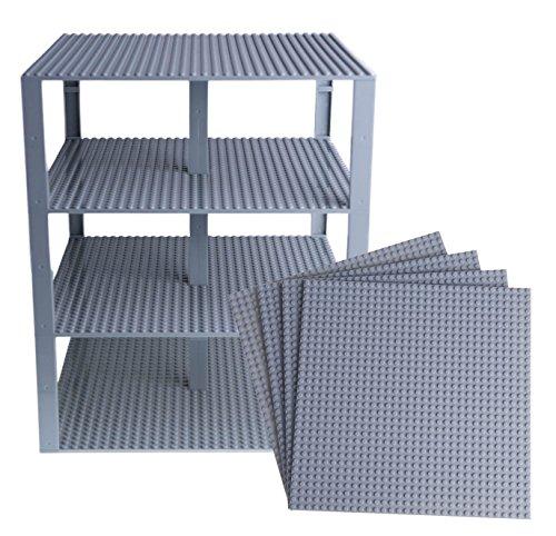 Strictly Briks - Stapelbare Premium-Bauplatten - kompatibel mit Allen großen Marken - geeignet für Turm-Konstruktionen - Set aus 4 Platten - je 25,4 x 25,4 cm - Hellgrau