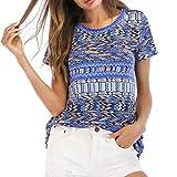 Verano para Mujer Floral Cuello en V Chaleco Túnica Tops Blusas Sueltas Florales de Manga Corta túnica Tops Blusa Estampada de para Mujer Camiseta Casual Camisa Suelta de Manga Corta Tops de Verano