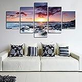 vbewuvbiewv 5 Piezas de Arte de Pared Moderno con Vistas al mar Paisaje Lienzo Pintura Puesta de Sol en el mar Cuadros de Pared decoración del hogar mar Playa Pintura de Piedra