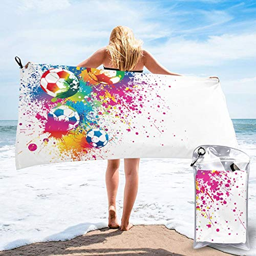 Sunmuchen Toalla de baño deportiva con pelota de fútbol, toalla de gimnasio, toalla de playa, uso multiusos para deportes, viajes, súper absorbente, microfibra suave de secado rápido, ligero