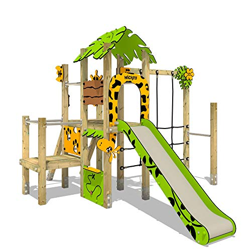 Klettergerüst WICKEY PRO MAGIC Tour+ für den öffentlichen Gebrauch - Entwickelt nach DIN EN 1176 - Kletterturm mit Rutsche für Kindergarten, Schule, Hotel, Restaurant, Ferienpark & Campingplatz