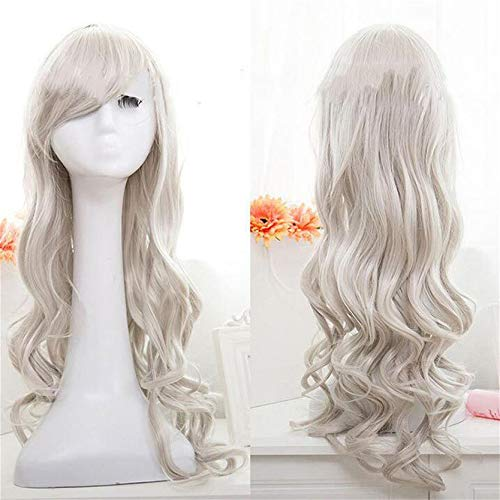 MAJFK Pelucas para mujer corto rizado ondulado peluca de pelo rizado ondulado para mujer, peluca sintética de Halloween Cospaly peluca natural resistente al calor, peluca completa, color gris plateado