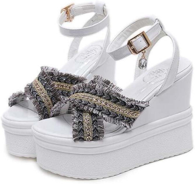 Pump 12cm Wedge Heel Slingbacks Ankle Strap Sandals Dress shoes Women Fashion Open Toe D'Orsay Burr Belt Buckle Rhinestone Pendant Cross Strap OL Court shoes Roma shoes EU Size 34-40