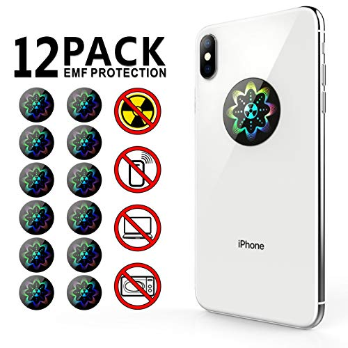 EMF Protection Anti Radiation Shield Sticker for Cell Phone/iPhone/WiFi/Laptop-All Devices, 99% EMR/EMF Protection|Negative Ion|Anti Radiation Shield|EMF Blocker Neutralizer -12 Pack Bundle Deal!