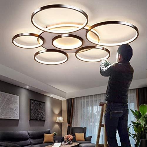 AUNEVN Deckenleuchte Modern Runden 7 Ring Design Dimmbar LED Deckenlampe Groß Luxus Wohnzimmerlampe mit Fernbedienung Metall Rahmen und Acryl-schirm Kronleuchter Schlafzimmer Esszimmer Küche Leuchte