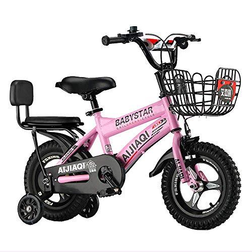 HUAQINEI Bicicletas para niños Bicicleta para niños Ciclismo para niños y niñas de 12/14 Pulgadas, Adecuado para niños de 2 a 5 años Blanco, Rojo, Rosa, Negro