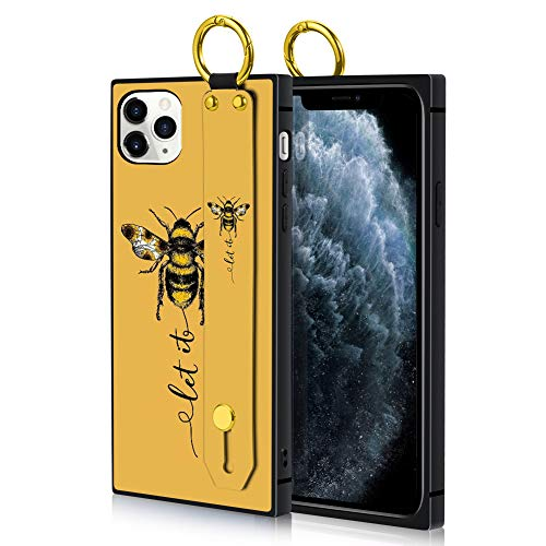 PERRKLD iPhone 11 Pro Max Case Square Let It Bee Pattern Heavy Duty Protective Shock Absorption Slim Soft TPU Bumper Adjustable Wrist Strap Phone Cover for iPhone 11 Pro Max - 6.5 Inch 2019
