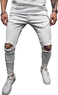 Onsoyours Pantaloni Strappati Uomo Moda Slim Fit Skinny Jeans Colore Solido Pantaloni da Spiaggia Lunghi Comodi Gamba Drit...