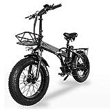 xianghaoshun Bicicleta eléctrica Plegable, Bicicleta de montaña eléctrica para Adultos, Engranajes de transmisión de Velocidad Profesional, Bicicletas de Playa/montaña con neumáticos Gruesos