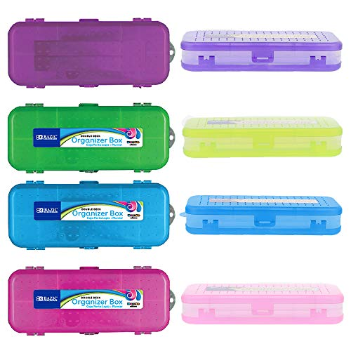 BAZIC 8' Bright Color Double Deck Organizer Box, Cubby Bin Pencil box Storage Desk Plastic Organizer Holder, for Pen Pencil Student Kids School Supplies Office, Assorted COLOR MAY VARY, 24-Pack
