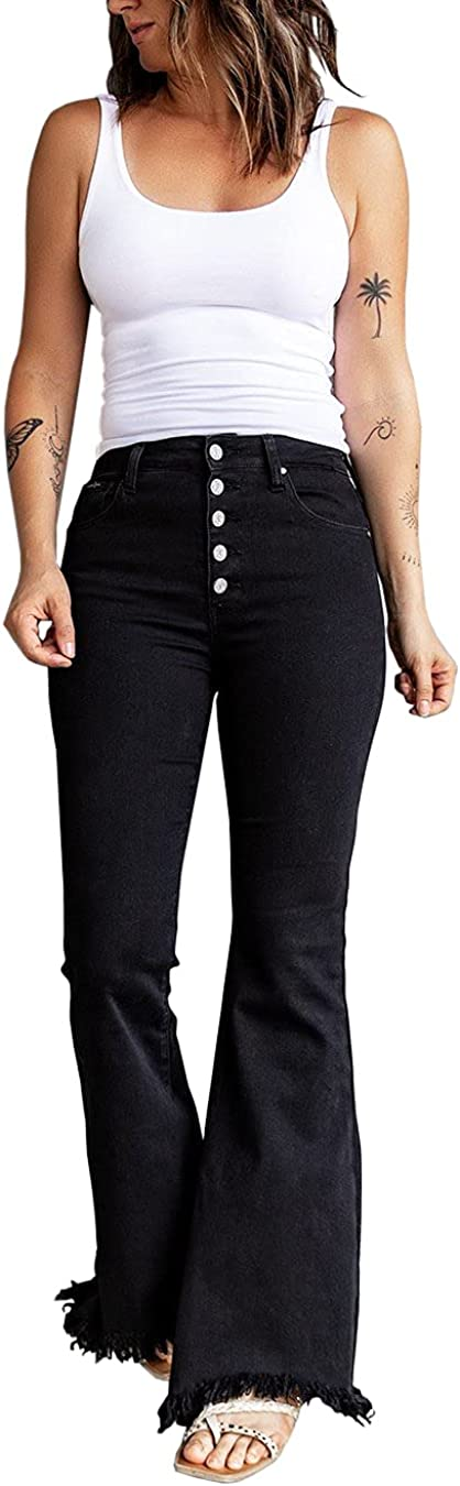 rrhss Selling and selling Women Inventory cleanup selling sale Flare Jeans Bell Bottom Frayed Waisted High Deni Hem