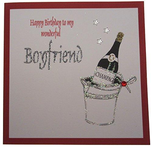 witte katoenen kaarten 1-Piece Happy Birthday To My Wonderful Boyfriend Handgemaakte Kaart, Champagne Emmer