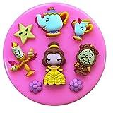 Fairie Blessings Molde de silicona para decoración de tartas, magdalenas y magdalenas, diseño de la Bella Bestia y la Señora Potts