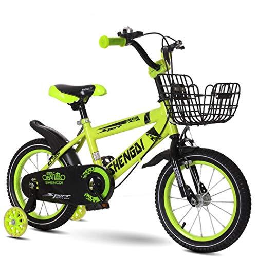 K-G Kinderfahrrad Jungen-Mädchen-Roller-Fahrrad for 2-9 Jahre, 12/14/16/18-Zoll-Stahl Kinder Fahrrad Mit Stützrädern Und Korb (Color : Yellow, Size : 16in)
