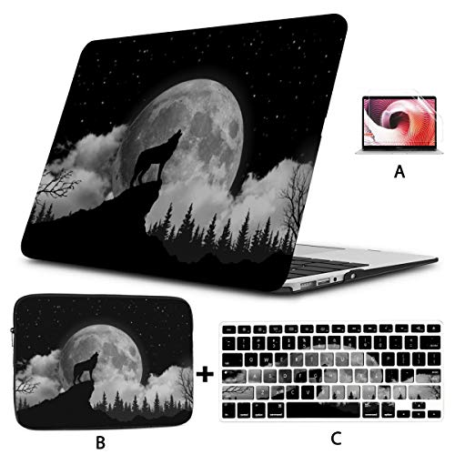 Mac Book Pro Cases Creepy Wolf Howling At Midnight Full Moon Macbook 13 Case Hard Shell Mac Air 11'/13' Pro 13'/15'/16' With Notebook Sleeve Bag For Macbook 2008-2020 Version