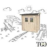 TGG Box CAPANNO in Legno ADDOSSATO Jack DEPOSITO per SDRAIE E Giochi da Giardino con Porta Doppia FINESTRATA 198 X 98 CM