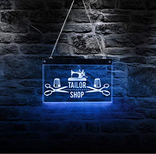 QERTYU Schneiderei LED Leuchtreklame Business Logo Schnittmuster Shop @ 40x30cm