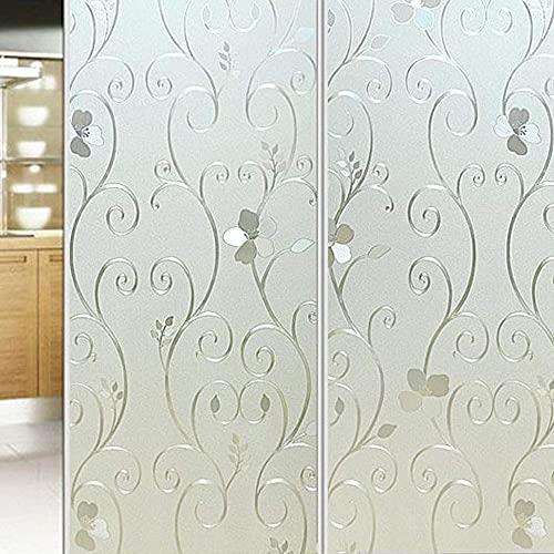 LMKJ 3D Flower Privacy Window Film, Frosted Non-Adhesive Dyeing Window Sticker, electrostatic Paste Heat Control Film A54 60x200cm