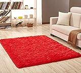axnx Teppiche Superweiche Seidenteppich Indoor Modern Shag Area Teppich Seidige Teppiche Schlafzimmer Bodenmatte Baby Kinderzimmer Teppich Kinderteppich 50X120Cm Rot