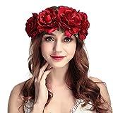 Simsly Boho guirlande florale couronne fleur bandeau Fleurs de mariage guirlande Headpiece Accessoires cheveux pour femmes et filles. (Rouge)