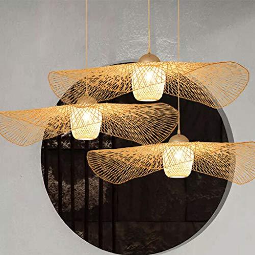 E27 Kronleuchter Bambus Deckenleuchte Retro Deckenleuchte Kreative Hängelampe Handgewebte Bambus Schatten Kronleuchter Beleuchtung Restaurant Schlafzimmer Deckenleuchte Wohnzimmer Küche Cafe Dekorative Lampe, 100 cm