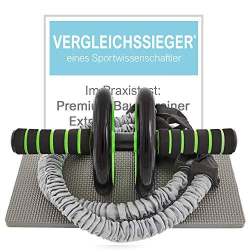 Sportastisch Top¹ Attrezzo trainer addominale Extreme Ab Roller con ginocchiera tappetino e bande di resistenza | Esercizio intensivo de addominali a casa: nessun rumore | fino a 3 anni di garanzia²