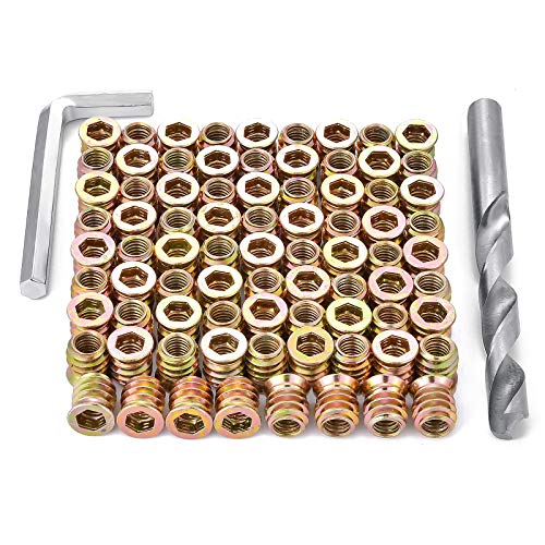 PGMJ 80 Pieces M8 Wood Inserts Bolt Furniture Screw in Nut Threaded Fastener Connector Hex Socket Drive for Wood Furniture Assortment (M8x15mm)
