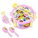 BSTEle 6 uds, Kit de batería para niños, Juego de batería de Juguete, Instrumentos Musicales para bebés, rimas Infantiles, Juguetes de Trompeta para niños y niñas